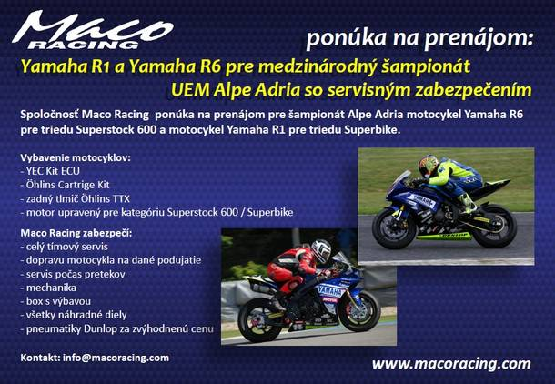Naše motocykle na prenájom pre šampionát Alpe Adria