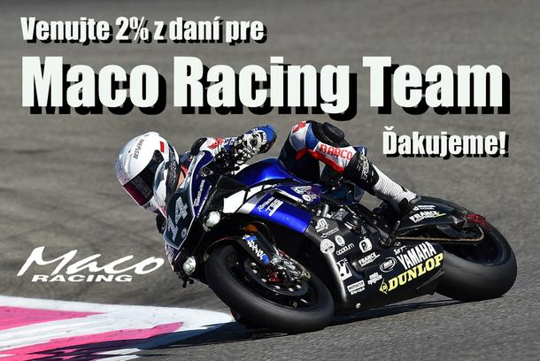 Venujte tímu Maco Racing dve percentá z daní